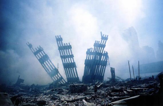 rubble smolders world trade center