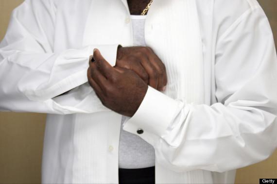 african american getting dressed