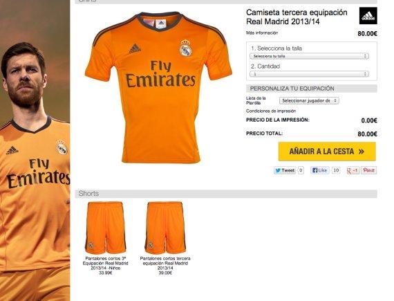 camiseta naranja real madrid