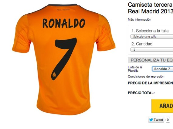 camiseta ronaldo naranja