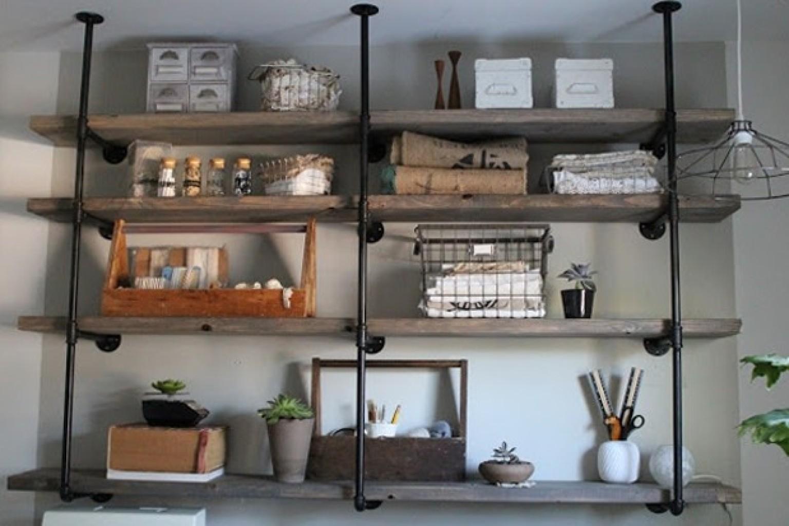Industrial Rustic Designs Mesmerizing Of DIY Rustic Industrial Shelves Picture