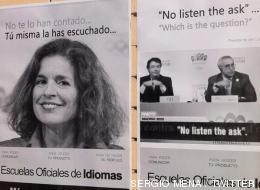 La imagen de Botella, en carteles en defensa de las Escuelas de Idiomas