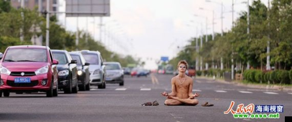 naked man meditates chinese road
