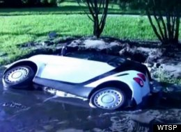 Sinkhole Swallows Smart Car