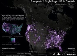 AWESOME MAP: 92 Years Of Bigfoot Sightings