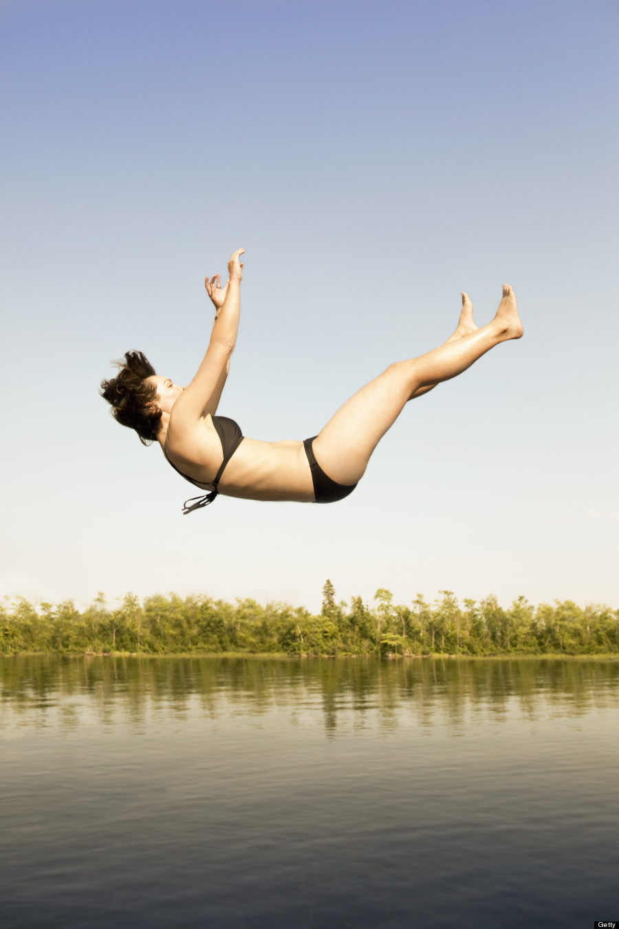Person Falling Over Woman falling in water