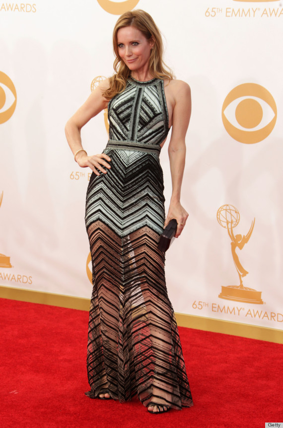 Leslie Mann S Emmy Dress Is Black And White And Sheer All