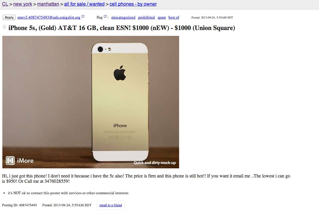 iphone 5s craigslist anyone who pays 10 000 for a gold iphone must think it s 11185