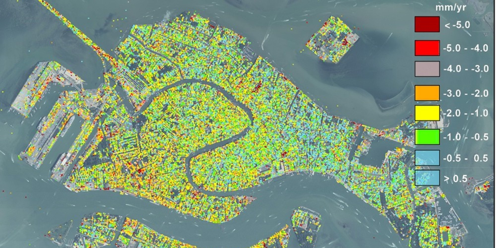 Venice S Sinking Map From Satellite Data Teases Apart