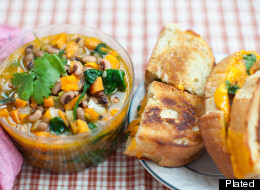 Seasonal Sweet Potato Soup With Grilled Cheese