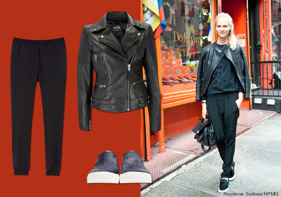 Occupation Fashion Editor Favorite transition item Leather jacket. Wallis jacket, Tibi pants, Marc by Marc Jacobs shoes