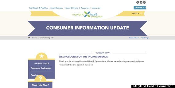 maryland obamacare glitch