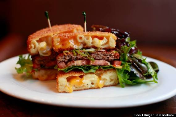burger fried mac cheese bun