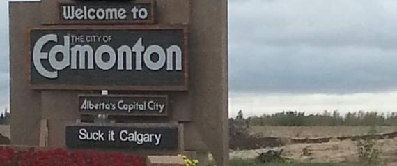 Welcome To Edmonton Signs vandalism