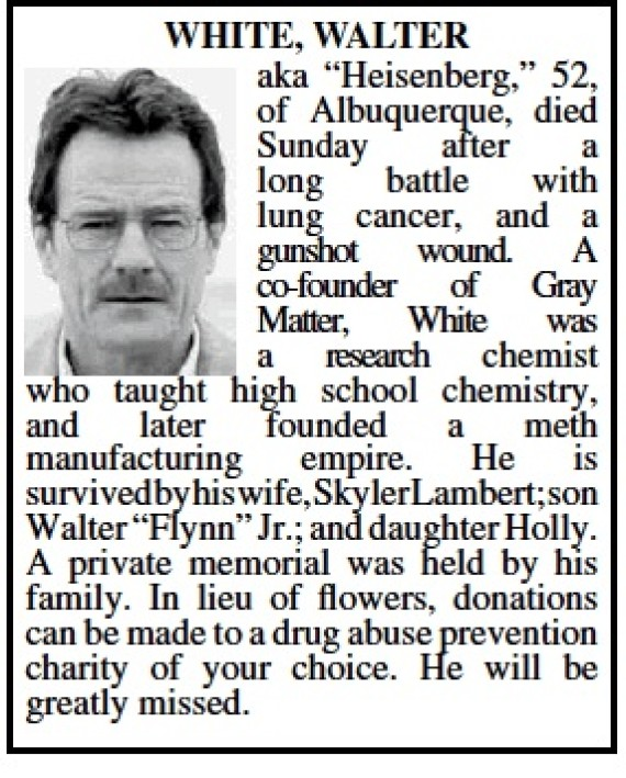 Walter white s obituary albuquerque honors breaking bad antihero in