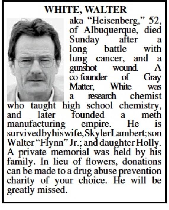 Walter Whites Obituary Albuquerque Honors Breaking Bad Antihero