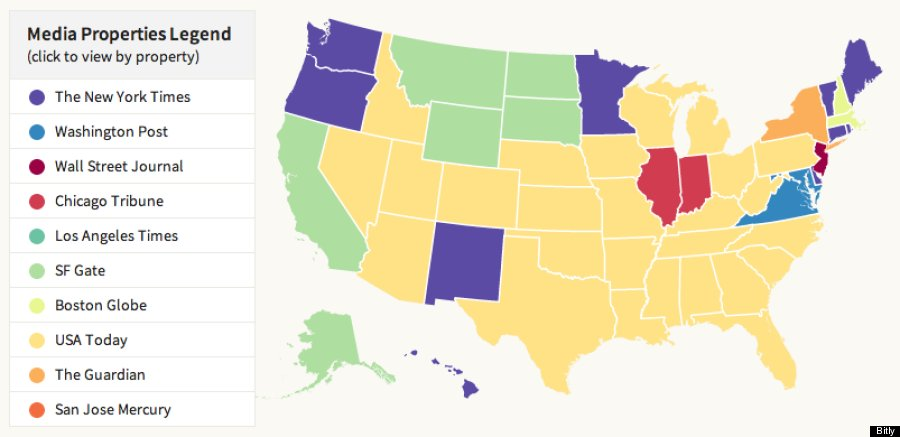 Does Your State Prefer CNN Fox News Or BBC Bitlys New Media Map