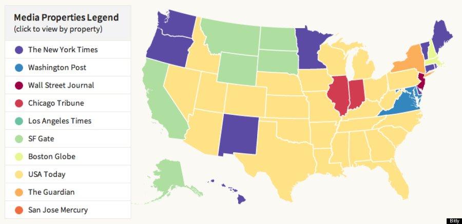 Does Your State Prefer CNN Fox News Or BBC Bitlys New Media Map - Fox news us map