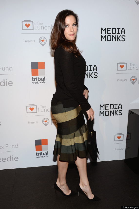 Liv Tyler Looks Gorgeous In Curve Hugging Striped Skirt