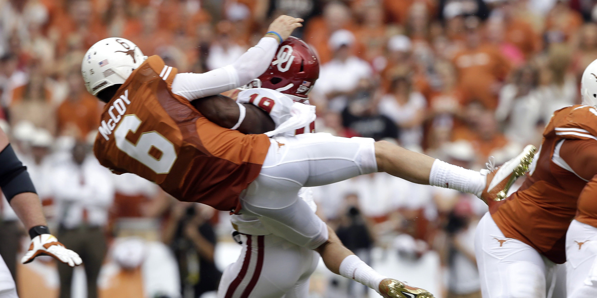 Case Mccoy Hit By Eric Striker Texas Quarterback Gets