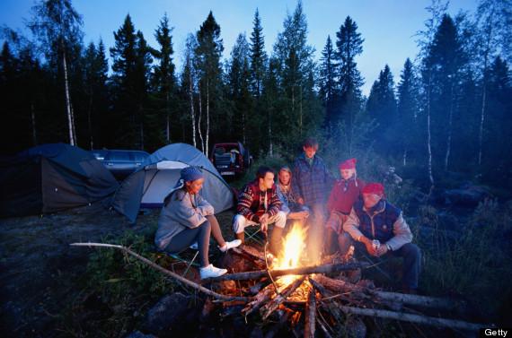 sitting around a bonfire
