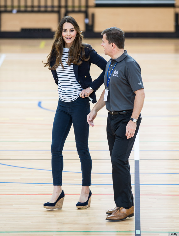 Kate Middleton Plays Volleyball In Wedges At First Solo ...