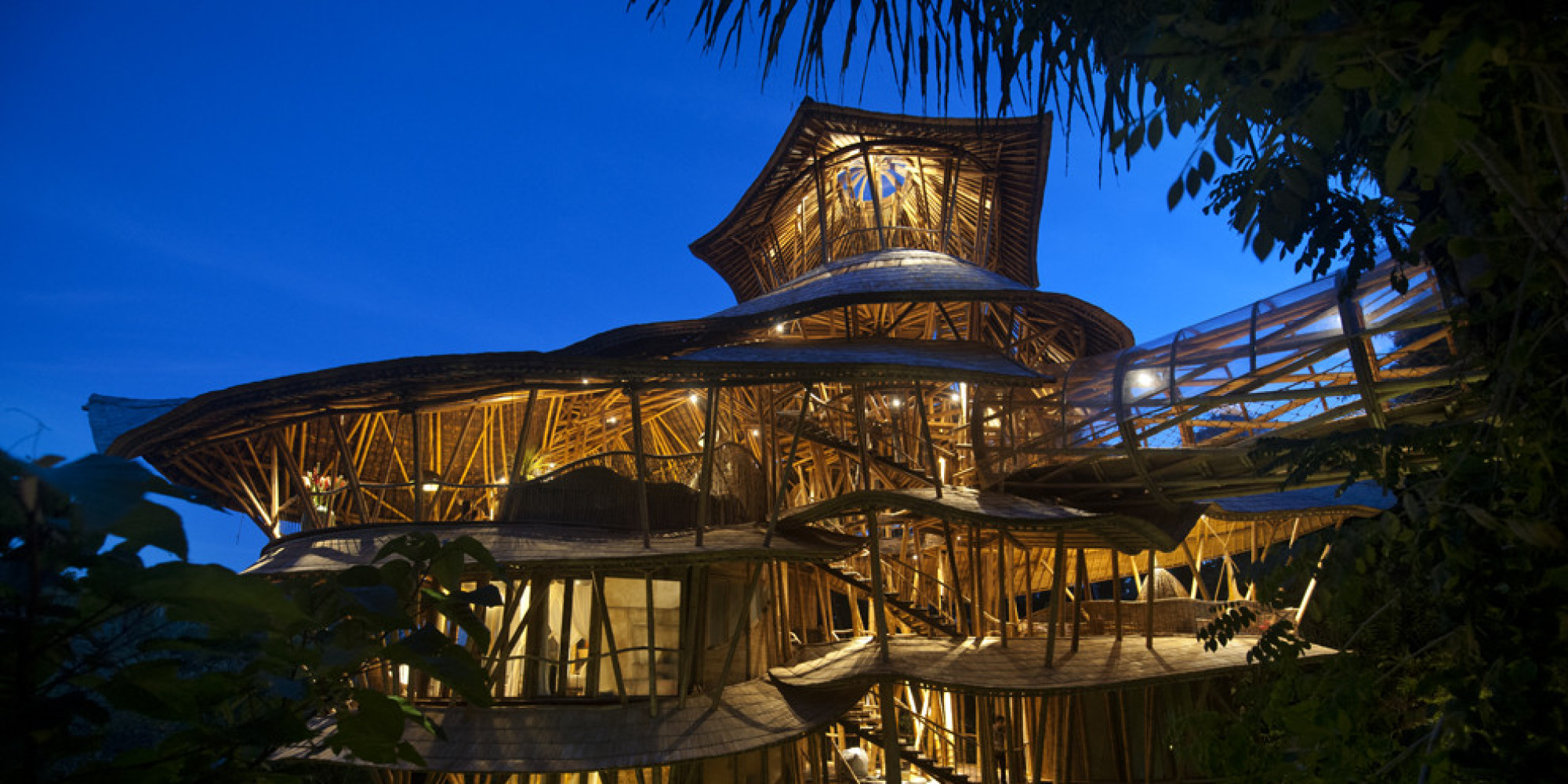 Bamboo treehouse in bali is pretty much a mansion in the for Unusual accommodation bali