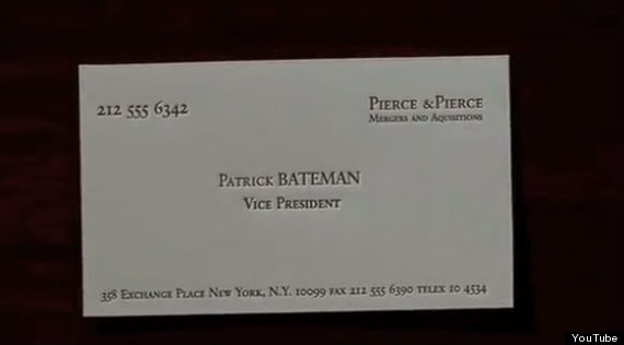 The 39american psycho39 typo that somehow no one noticed for Patrick bateman business cards
