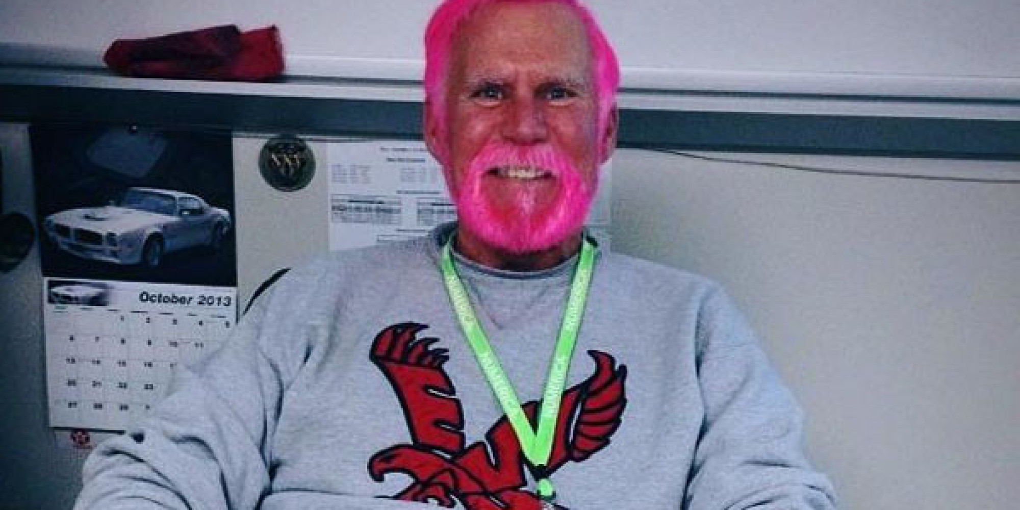 Coolest Teacher Ever Dyes Hair Beard Pink For Breast