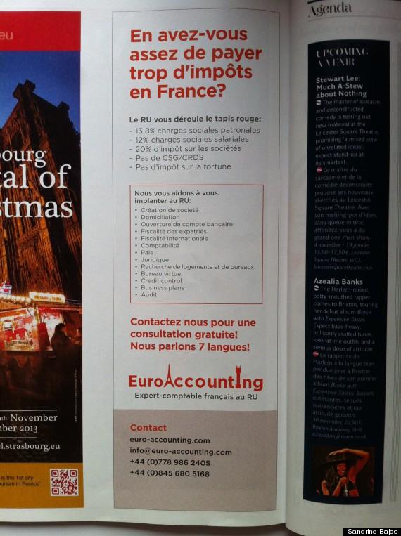 payer trop d 39 imp ts le magazine de l 39 eurostar passe une publicit invitant les fran ais s. Black Bedroom Furniture Sets. Home Design Ideas