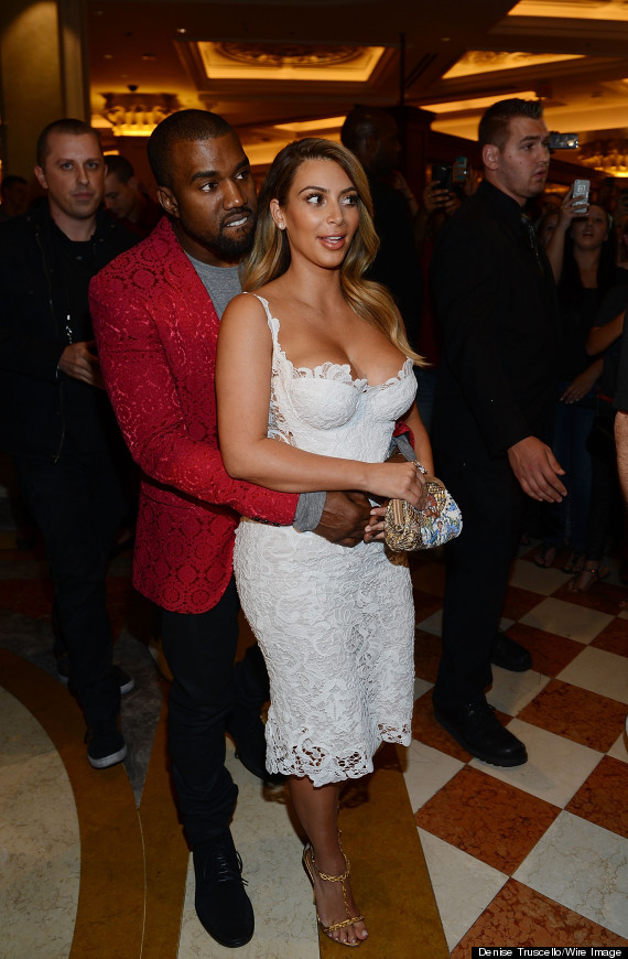 Kim Kardashian Busts Out Of Her White Lace Birthday Dress In Vegas ...