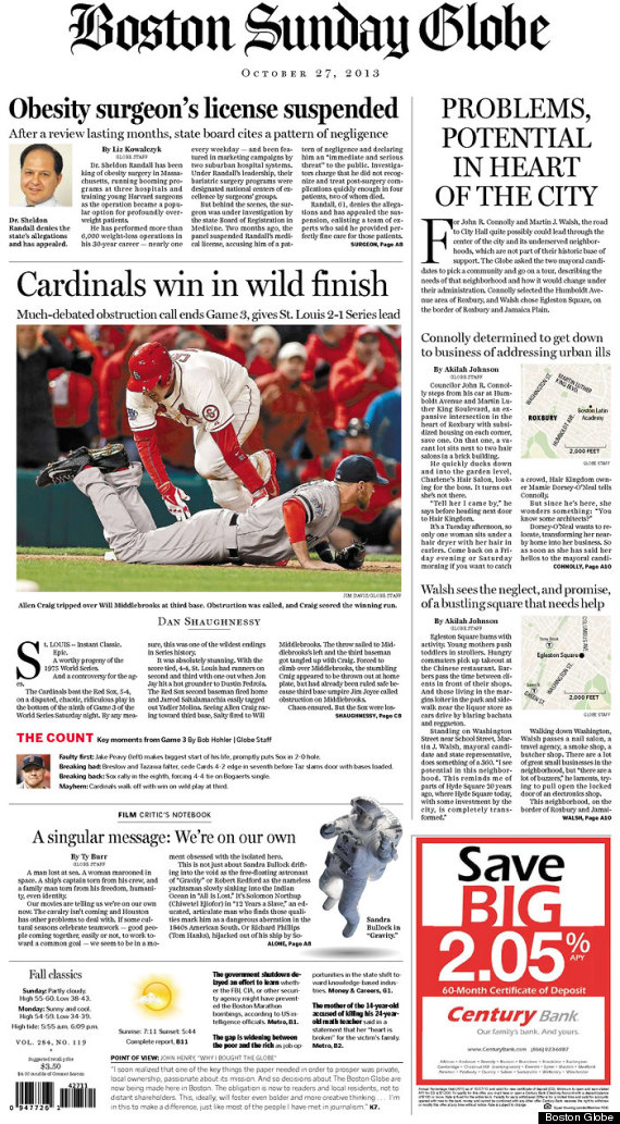 Boston, St  Louis Newspapers Front Pages Treat World Series
