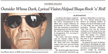Lou Reed Looks Awesome In All These Newspaper Tributes