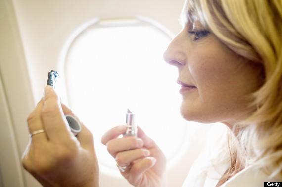 makeup on a plane