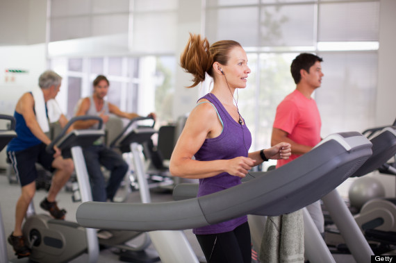 on treadmill with music