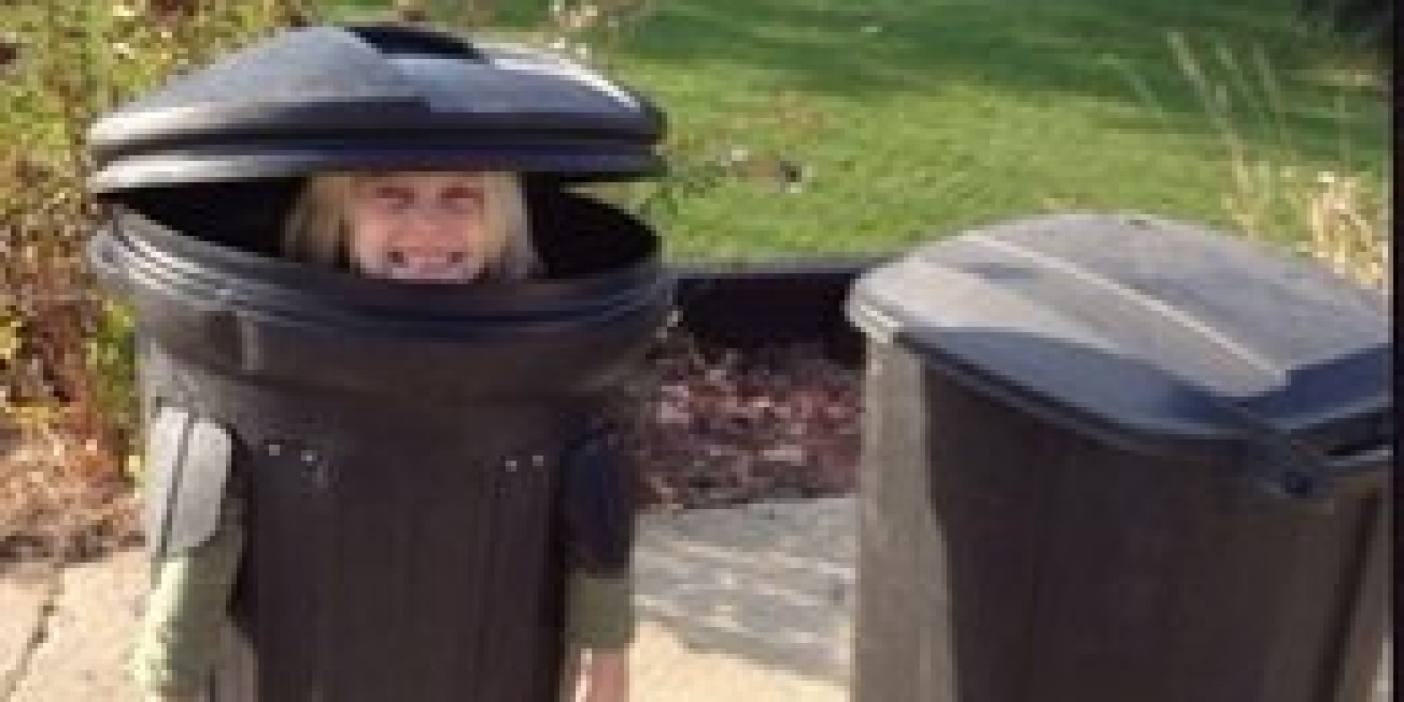 midget on trash can costume picture