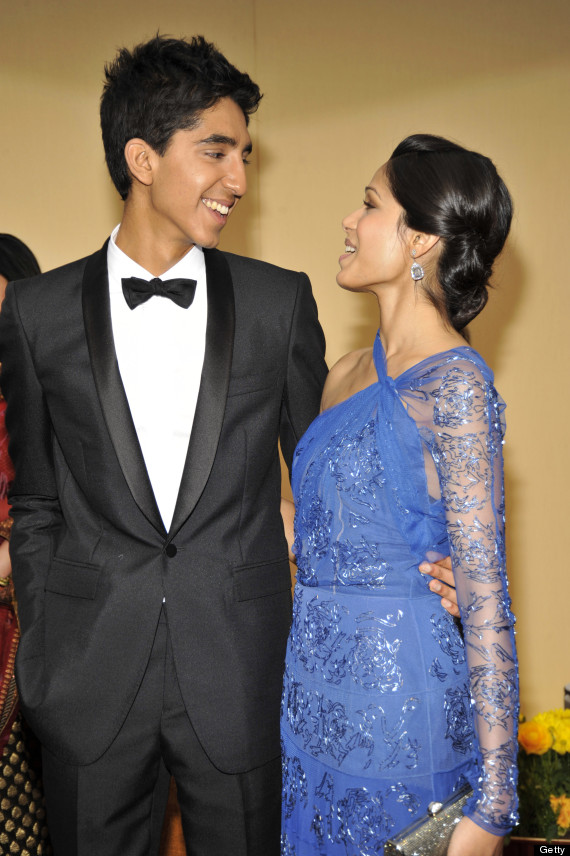 Freida Pinto and dev patel 2014