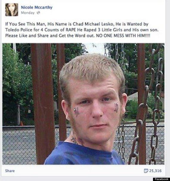 facebook viral hoax rapist