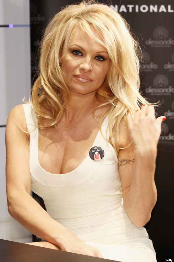 Pamela Anderson Cuts Her Long Hair Into Platinum Pixie Do Huffpost