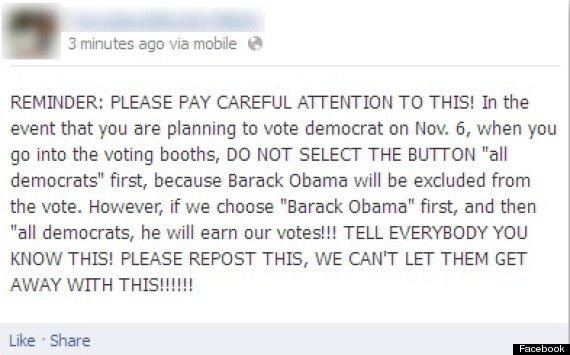 facebook voting machine hoax