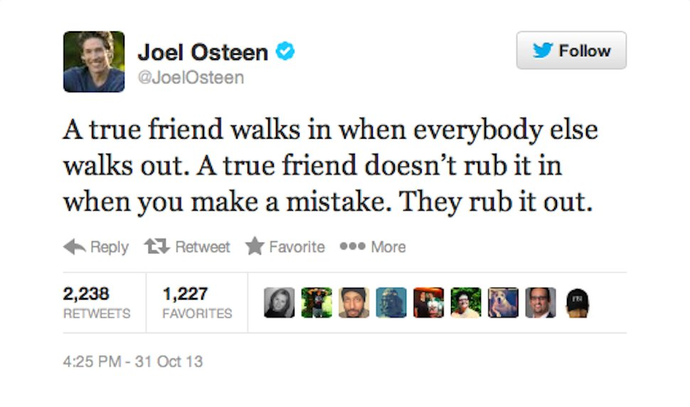 Joel Osteen Tweets Something Really Really Really Inspirational