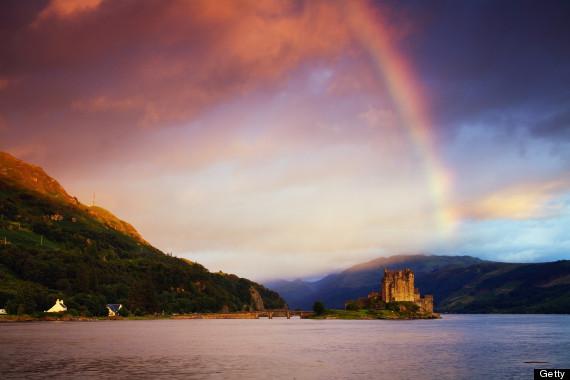 eilean donan castle rainbow