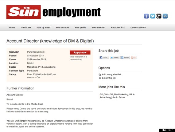 Male Candidates Only': 'Sexist' Advert In Sun, Guardian, To Please ...