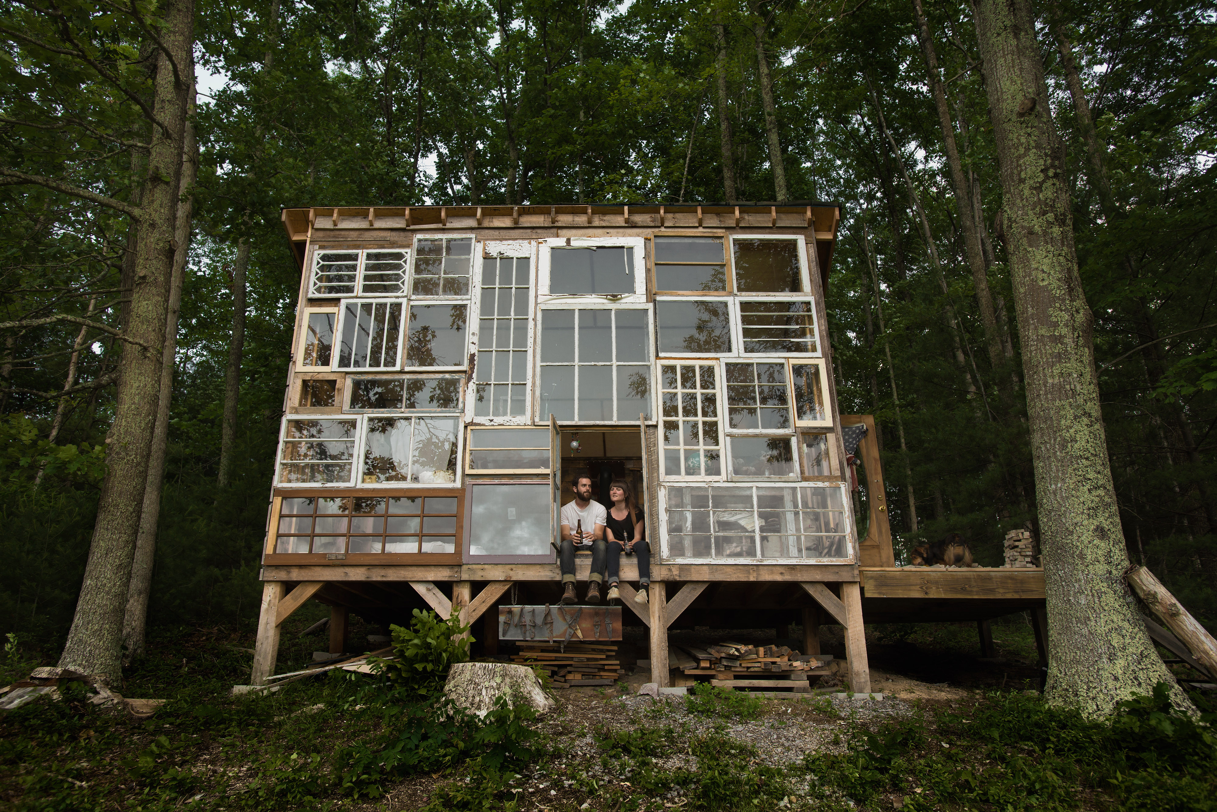 Cozy Mountain Cabin Built From Repurposed Windows Costs Just 500 To Make Photos Video Huffpost