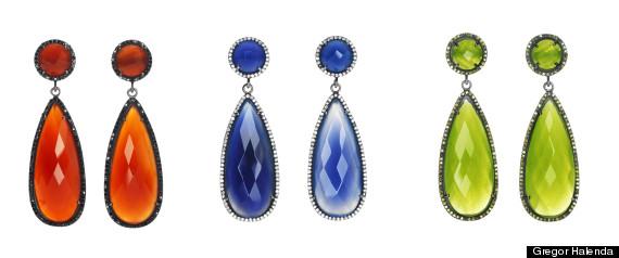 colored gem earrings