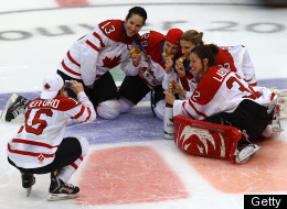 Canadian Womens Hockey Team Celebration
