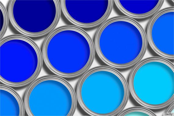 blue paint in can