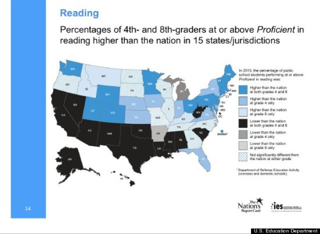National Test Scores Show Slight Math Reading Increases For - Us map testing results for 4th grade