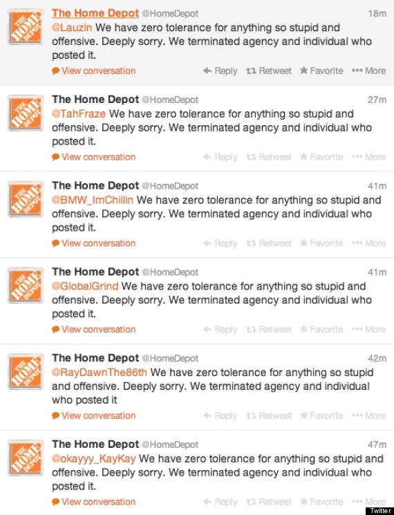 Home Depot Tweets Racist Photo Scrambles To Apologize Huffpost
