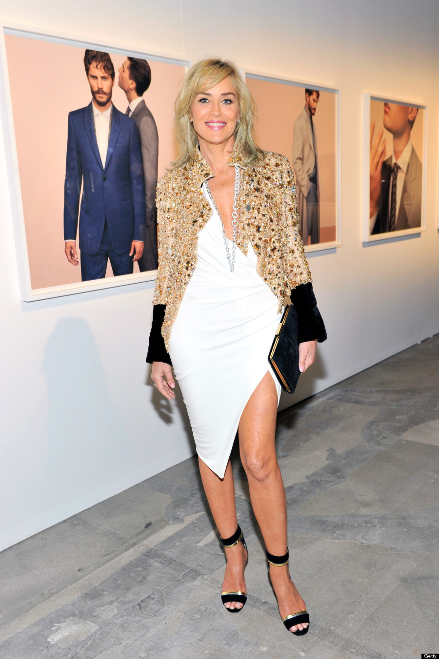 Sharon stone does not age at all in sexy slit dress photos